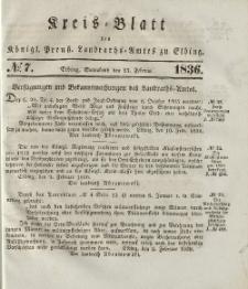Kreis-Blatt des Königlich Preußischen Landraths-Amtes zu Elbing, Nr. 7 Sonnabend 13 Februar 1836