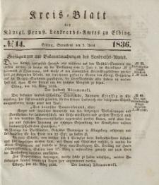 Kreis-Blatt des Königlich Preußischen Landraths-Amtes zu Elbing, Nr. 14 Sonnabend 2 April 1836