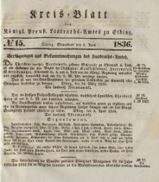 Kreis-Blatt des Königlich Preußischen Landraths-Amtes zu Elbing, Nr. 15 Sonnabend 9 April 1836