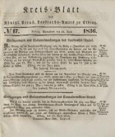 Kreis-Blatt des Königlich Preußischen Landraths-Amtes zu Elbing, Nr. 17 Sonnabend 23 April 1836