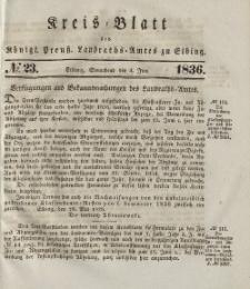 Kreis-Blatt des Königlich Preußischen Landraths-Amtes zu Elbing, Nr. 23 Sonnabend 4 Juni 1836