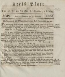 Kreis-Blatt des Königlich Preußischen Landraths-Amtes zu Elbing, Nr. 38 Sonnabend 17 September 1836