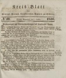 Kreis-Blatt des Königlich Preußischen Landraths-Amtes zu Elbing, Nr. 40 Sonnabend 1 Oktober 1836