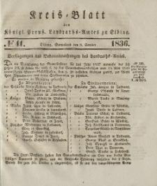 Kreis-Blatt des Königlich Preußischen Landraths-Amtes zu Elbing, Nr. 41 Sonnabend 8 Oktober 1836