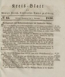 Kreis-Blatt des Königlich Preußischen Landraths-Amtes zu Elbing, Nr. 45 Sonnabend 5 November 1836