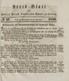 Kreis-Blatt des Königlich Preußischen Landraths-Amtes zu Elbing, Nr. 47 Sonnabend 19 November 1836
