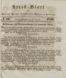 Kreis-Blatt des Königlich Preußischen Landraths-Amtes zu Elbing, Nr. 48 Sonnabend 26 November 1836