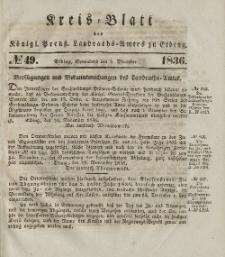 Kreis-Blatt des Königlich Preußischen Landraths-Amtes zu Elbing, Nr. 49 Sonnabend 3 Dezember 1836