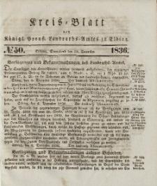 Kreis-Blatt des Königlich Preußischen Landraths-Amtes zu Elbing, Nr. 50 Sonnabend 10 Dezember 1836