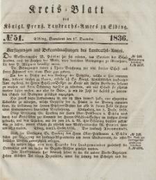Kreis-Blatt des Königlich Preußischen Landraths-Amtes zu Elbing, Nr. 51 Sonnabend 17 Dezember 1836