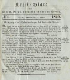Kreis-Blatt des Königlich Preußischen Landraths-Amtes zu Elbing, Nr. 7 Sonnabend 15 Februar 1840