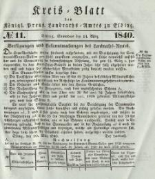 Kreis-Blatt des Königlich Preußischen Landraths-Amtes zu Elbing, Nr. 11 Sonnabend 14 März 1840