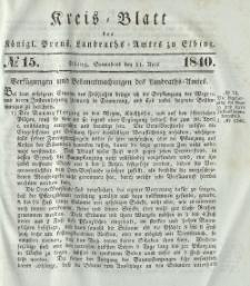 Kreis-Blatt des Königlich Preußischen Landraths-Amtes zu Elbing, Nr. 15 Sonnabend 11 April 1840