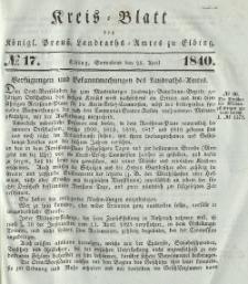 Kreis-Blatt des Königlich Preußischen Landraths-Amtes zu Elbing, Nr. 17 Sonnabend 25 April 1840