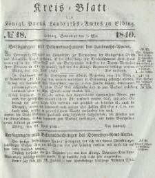 Kreis-Blatt des Königlich Preußischen Landraths-Amtes zu Elbing, Nr. 18 Sonnabend 2 Mai 1840