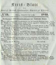 Kreis-Blatt des Königlich Preußischen Landraths-Amtes zu Elbing, Nr. 19 Sonnabend 9 Mai 1840