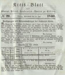 Kreis-Blatt des Königlich Preußischen Landraths-Amtes zu Elbing, Nr. 29 Sonnabend 18 Juli 1840