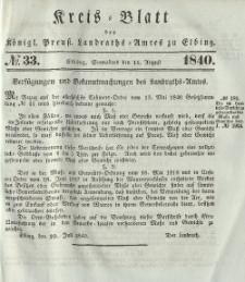 Kreis-Blatt des Königlich Preußischen Landraths-Amtes zu Elbing, Nr. 33 Sonnabend 15 August 1840