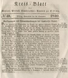 Kreis-Blatt des Königlich Preußischen Landraths-Amtes zu Elbing, Nr. 39 Sonnabend 26 September 1840