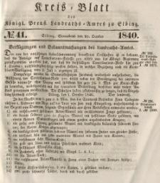Kreis-Blatt des Königlich Preußischen Landraths-Amtes zu Elbing, Nr. 41 Sonnabend 10 Oktober 1840