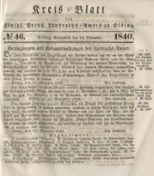 Kreis-Blatt des Königlich Preußischen Landraths-Amtes zu Elbing, Nr. 46 Sonnabend 14 November 1840
