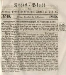 Kreis-Blatt des Königlich Preußischen Landraths-Amtes zu Elbing, Nr. 49 Sonnabend 5 Dezember 1840