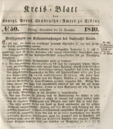 Kreis-Blatt des Königlich Preußischen Landraths-Amtes zu Elbing, Nr. 50 Sonnabend 12 Dezember 1840