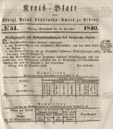 Kreis-Blatt des Königlich Preußischen Landraths-Amtes zu Elbing, Nr. 51 Sonnabend 19 Dezember 1840