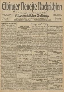 Elbinger Neueste Nachrichten, Nr. 218 Dienstag 11 August 1914 66. Jahrgang