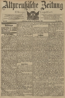 Altpreussische Zeitung, Nr. 278 Freitag 27 November 1903, 55. Jahrgang