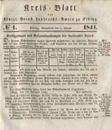 Kreis-Blatt des Königlich Preußischen Landraths-Amtes zu Elbing, Nr. 1 Sonnabend 2 Januar 1841