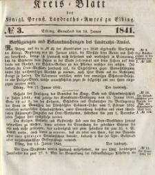 Kreis-Blatt des Königlich Preußischen Landraths-Amtes zu Elbing, Nr. 3 Sonnabend 16 Januar 1841