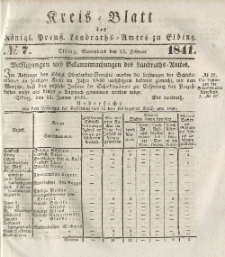 Kreis-Blatt des Königlich Preußischen Landraths-Amtes zu Elbing, Nr. 7 Sonnabend 13 Februar 1841
