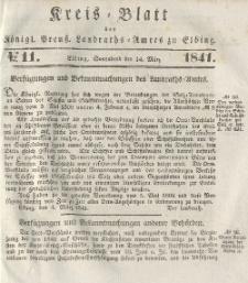 Kreis-Blatt des Königlich Preußischen Landraths-Amtes zu Elbing, Nr. 11 Sonnabend 14 März 1841