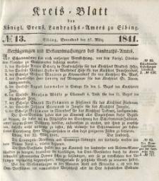 Kreis-Blatt des Königlich Preußischen Landraths-Amtes zu Elbing, Nr. 13 Sonnabend 27 März 1841