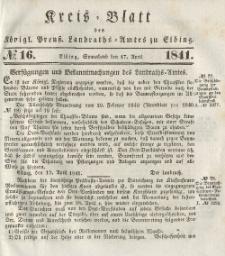 Kreis-Blatt des Königlich Preußischen Landraths-Amtes zu Elbing, Nr. 16 Sonnabend 17 April 1841
