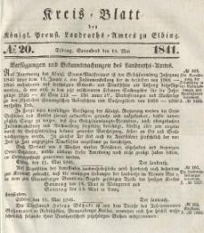 Kreis-Blatt des Königlich Preußischen Landraths-Amtes zu Elbing, Nr. 20 Sonnabend 15 Mai 1841