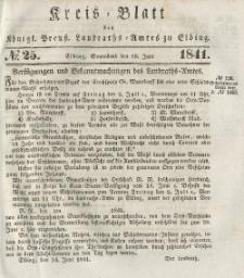 Kreis-Blatt des Königlich Preußischen Landraths-Amtes zu Elbing, Nr. 25 Sonnabend 19 Juni 1841