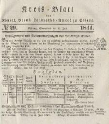 Kreis-Blatt des Königlich Preußischen Landraths-Amtes zu Elbing, Nr. 29 Sonnabend 17 Juli 1841