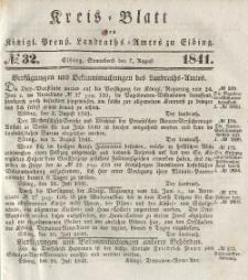 Kreis-Blatt des Königlich Preußischen Landraths-Amtes zu Elbing, Nr. 32 Sonnabend 7 August 1841