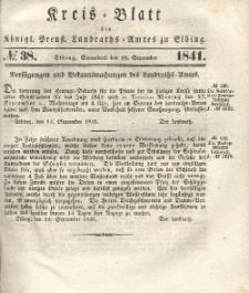 Kreis-Blatt des Königlich Preußischen Landraths-Amtes zu Elbing, Nr. 38 Sonnabend 18 September 1841