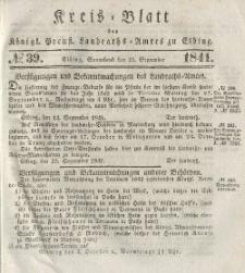 Kreis-Blatt des Königlich Preußischen Landraths-Amtes zu Elbing, Nr. 39 Sonnabend 25 September 1841