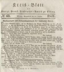 Kreis-Blatt des Königlich Preußischen Landraths-Amtes zu Elbing, Nr. 43 Sonnabend 23 Oktober 1841