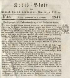 Kreis-Blatt des Königlich Preußischen Landraths-Amtes zu Elbing, Nr. 45 Sonnabend 6 November 1841