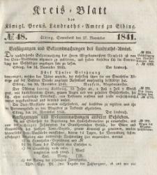 Kreis-Blatt des Königlich Preußischen Landraths-Amtes zu Elbing, Nr. 48 Sonnabend 27 November 1841