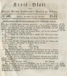 Kreis-Blatt des Königlich Preußischen Landraths-Amtes zu Elbing, Nr. 50 Sonnabend 11 Dezember 1841
