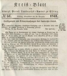 Kreis-Blatt des Königlich Preußischen Landraths-Amtes zu Elbing, Nr. 51 Sonnabend 18 Dezember 1841