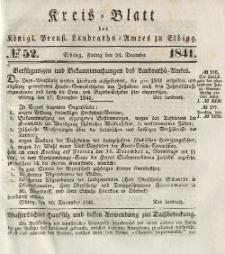 Kreis-Blatt des Königlich Preußischen Landraths-Amtes zu Elbing, Nr. 52 Sonnabend 24 Dezember 1841