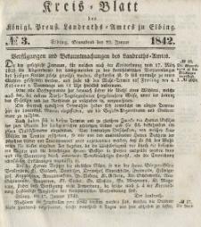 Kreis-Blatt des Königlich Preußischen Landraths-Amtes zu Elbing, Nr. 3 Sonnabend 22 Januar 1842