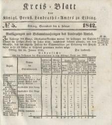 Kreis-Blatt des Königlich Preußischen Landraths-Amtes zu Elbing, Nr. 5 Sonnabend 5 Februar 1842